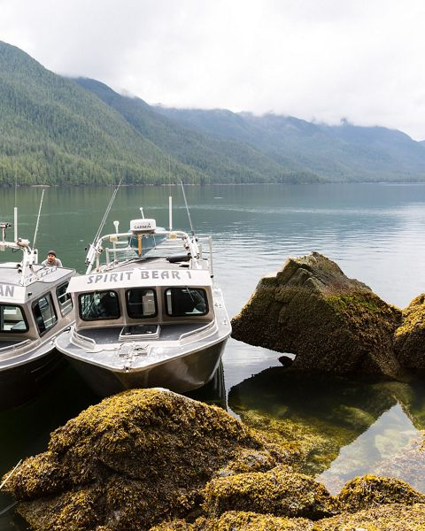Boats operated by the Kitasoo Coastal Guardian Watchmen and Spirit Bear Lodge, near Klemtu, BC. Boats are the most common way of getting around this mostly roadless region.