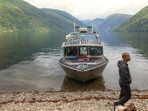 A boat operated by the Kitasoo Coastal Guardian Watchmen and Spirit Bear Lodge, near Klemtu, British Columbia