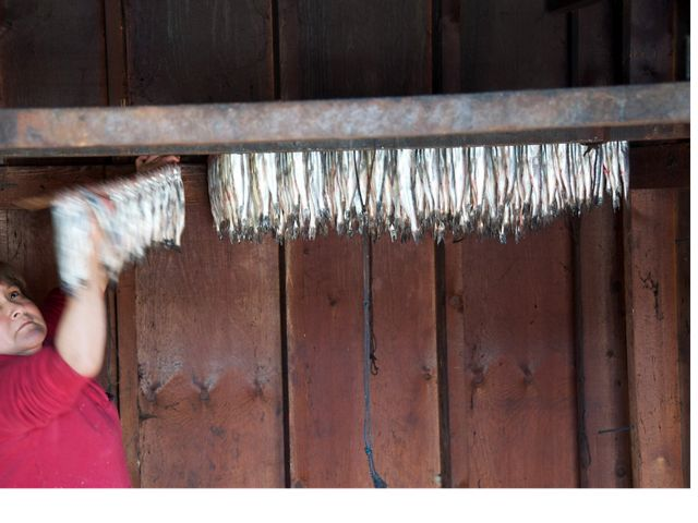 woman hanging fish to dry