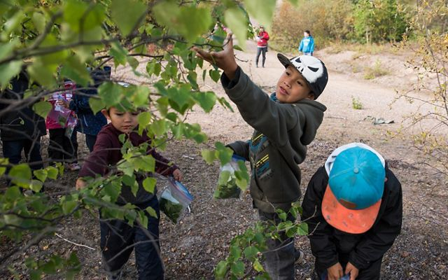 Children from the Lutsel K'e Dene First Nation in the Northwest Territories enjoy a day exploring outdoors in their traditional territory.