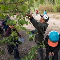 Children from the Łutsël K'é Dene First Nation in the Northwest Territories enjoy a day exploring outdoors in their traditional territory.