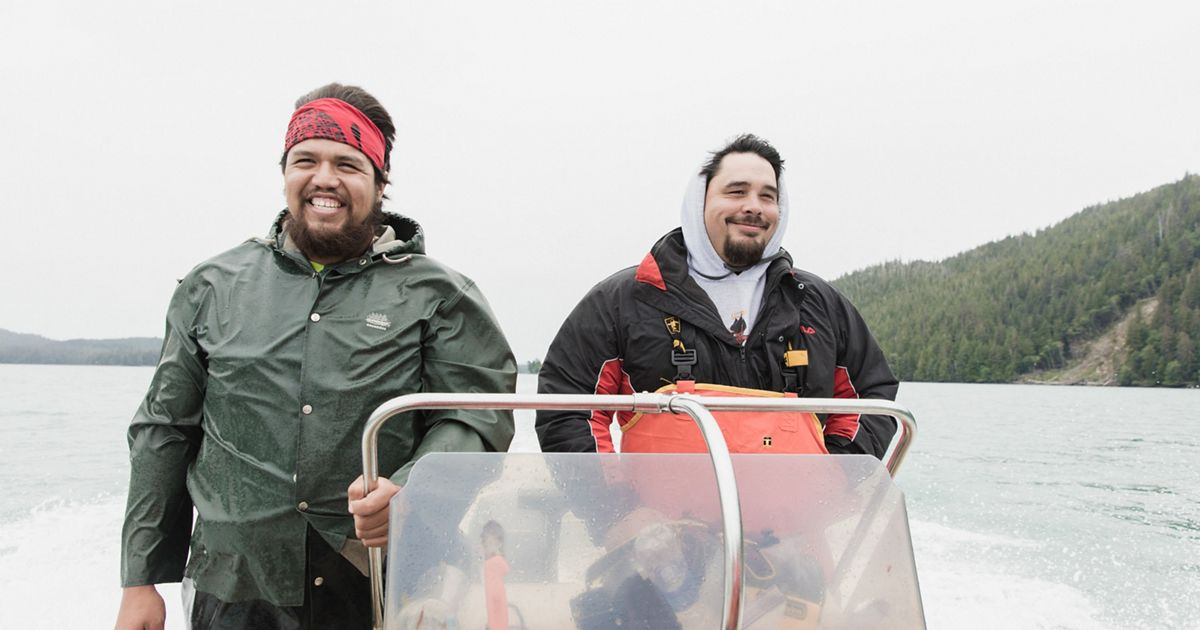 Danial Frank and Tony Christianson beach seine fishing for salmon near Hydaburg, Alaska.
