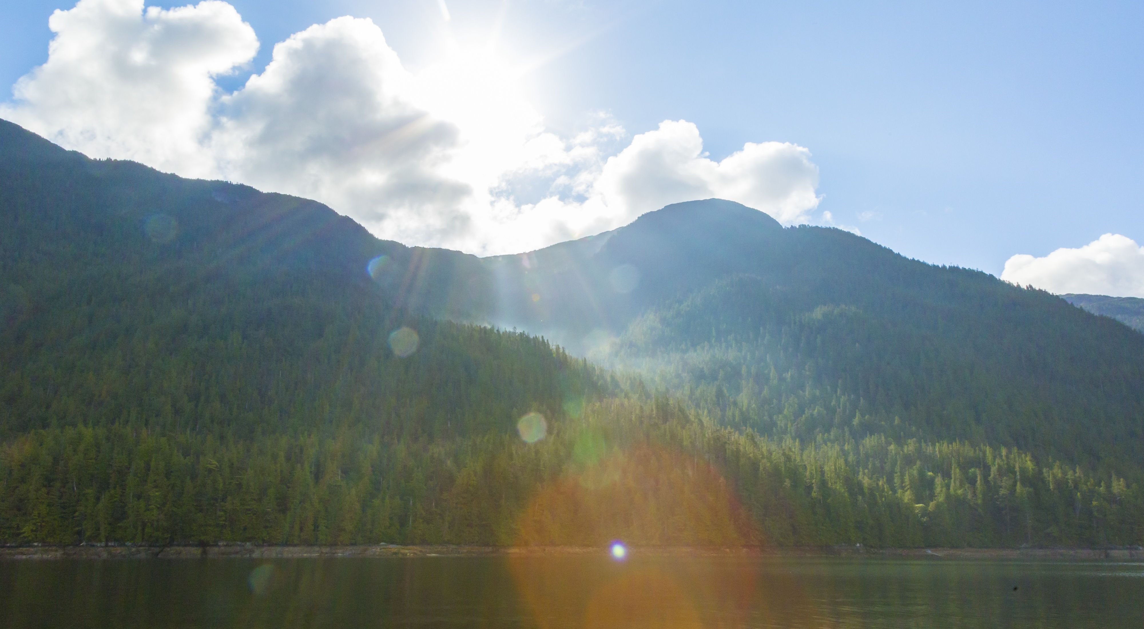 Sun rays near Klemtu, BC