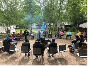 Elders and youth from the Misipawistik Cree Nation gathered on the shore of Lake Winnipeg, near Grand Rapids, Manitoba.