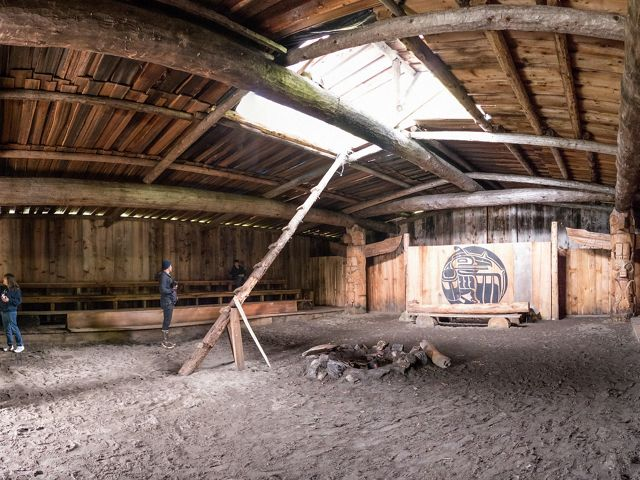 inside of a large wooden structure