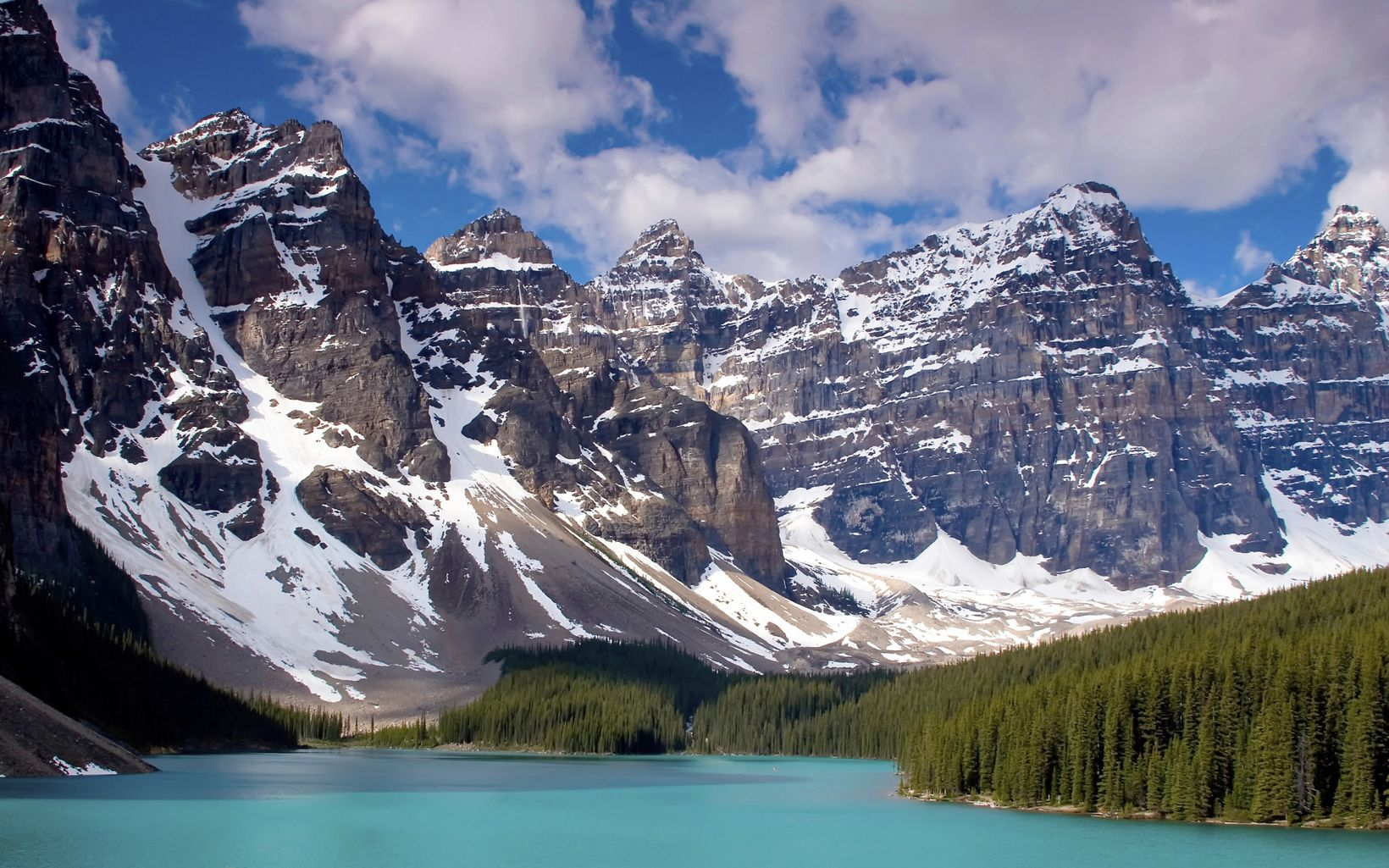 This glacially-fed lake sits among the Ten Peaks Range Banff National Park in Alberta, Canada.