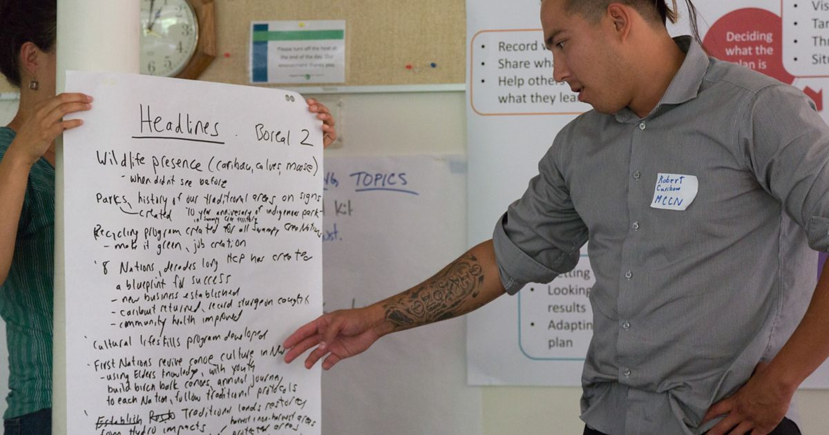 a man pointing at a board during a brainstorming session