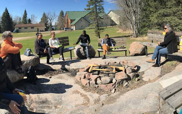 Nature United staff, consultants and First Nation representatives discuss Healthy Country Planning during a workshop in May 2019 at Whiteshell Provincial Park in Manitoba.