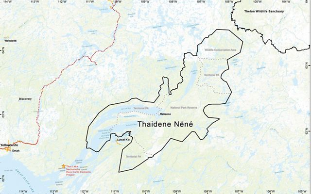 Map showing the boundaries of Thaidene Nëné