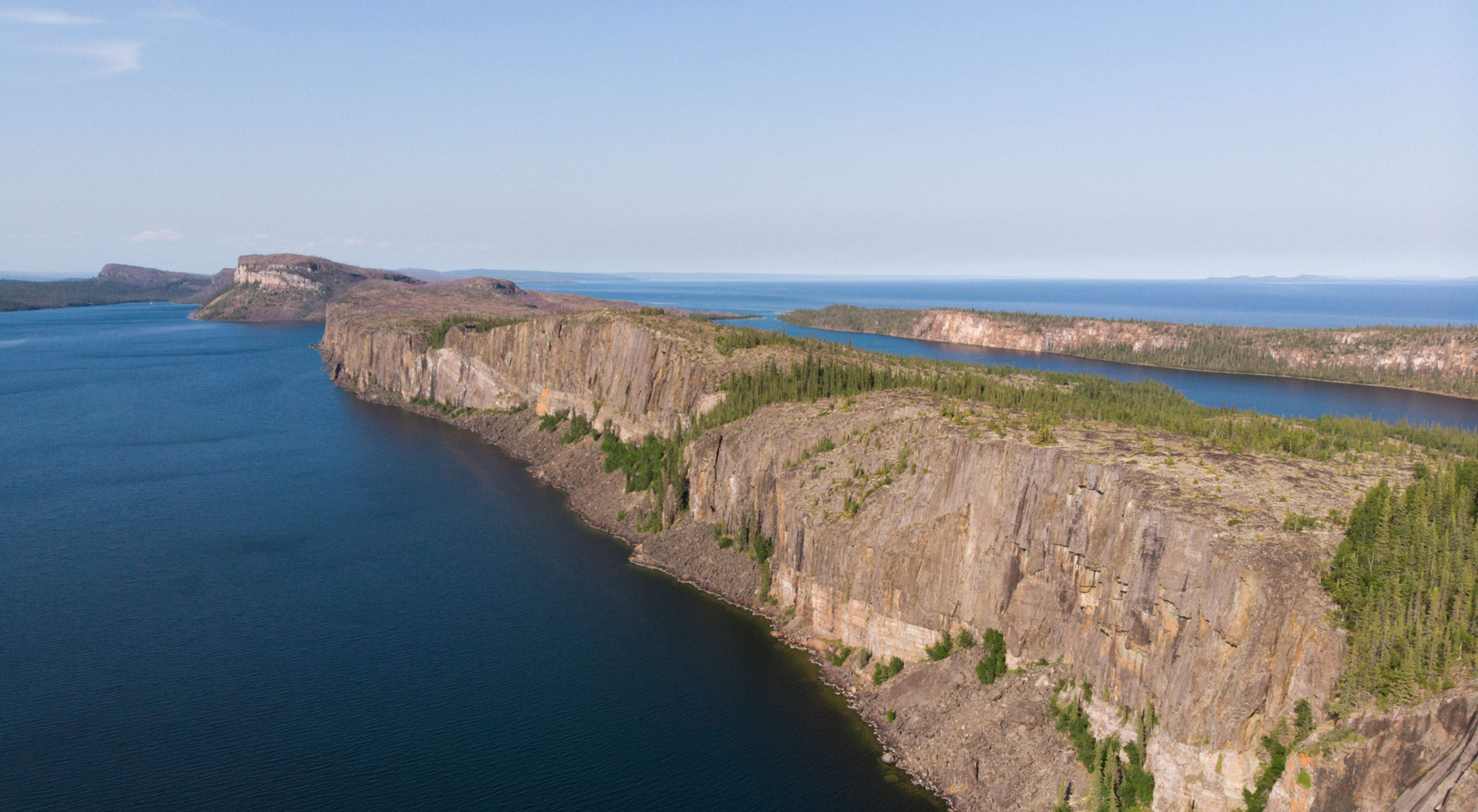 Cliffs of the Pethei Peninsula overlooking Great Slave Lake in the Northwest Territories.