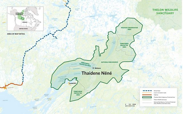 Map showing the boundaries of Thaidene Nëné, a new national park in Canada