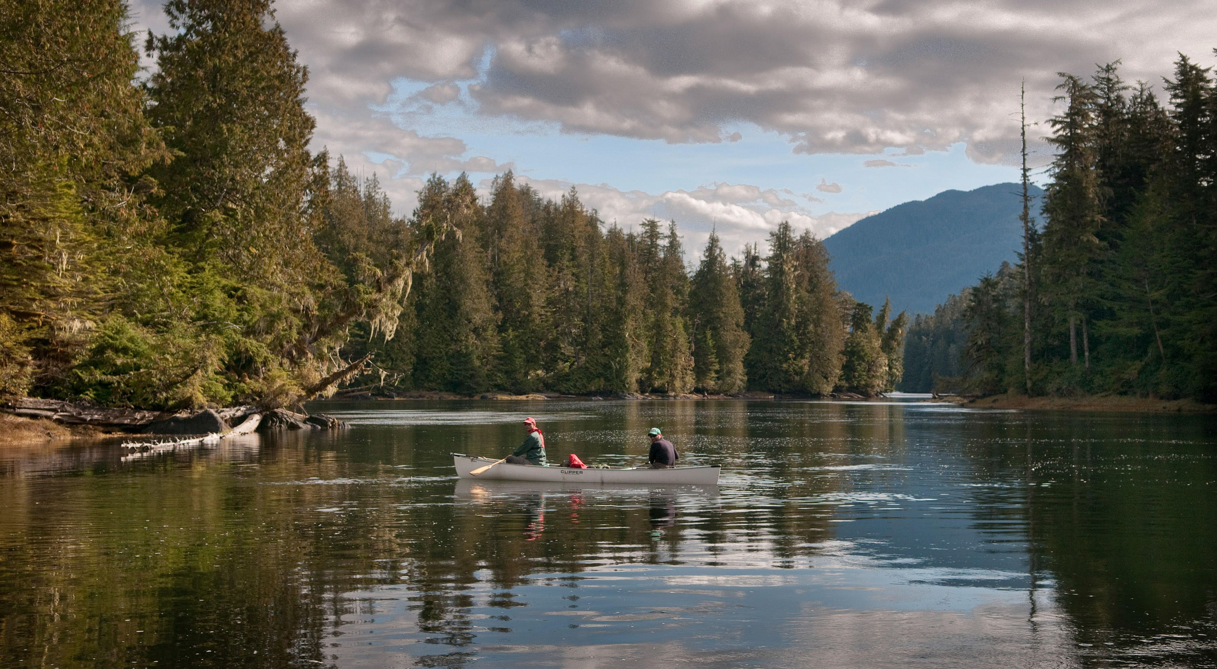 The Koeye River, which flows through the Great Bear Rainforest on the remote mainland central coast of British Columbia about 30 nautical miles south of Bella Bella, Canada.