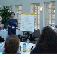 As a member of the Technical Support Team, Jonaki Bhattacharyya, supports dialogue between Indigenous Guardians at a gathering in Manitoba in February 2020.