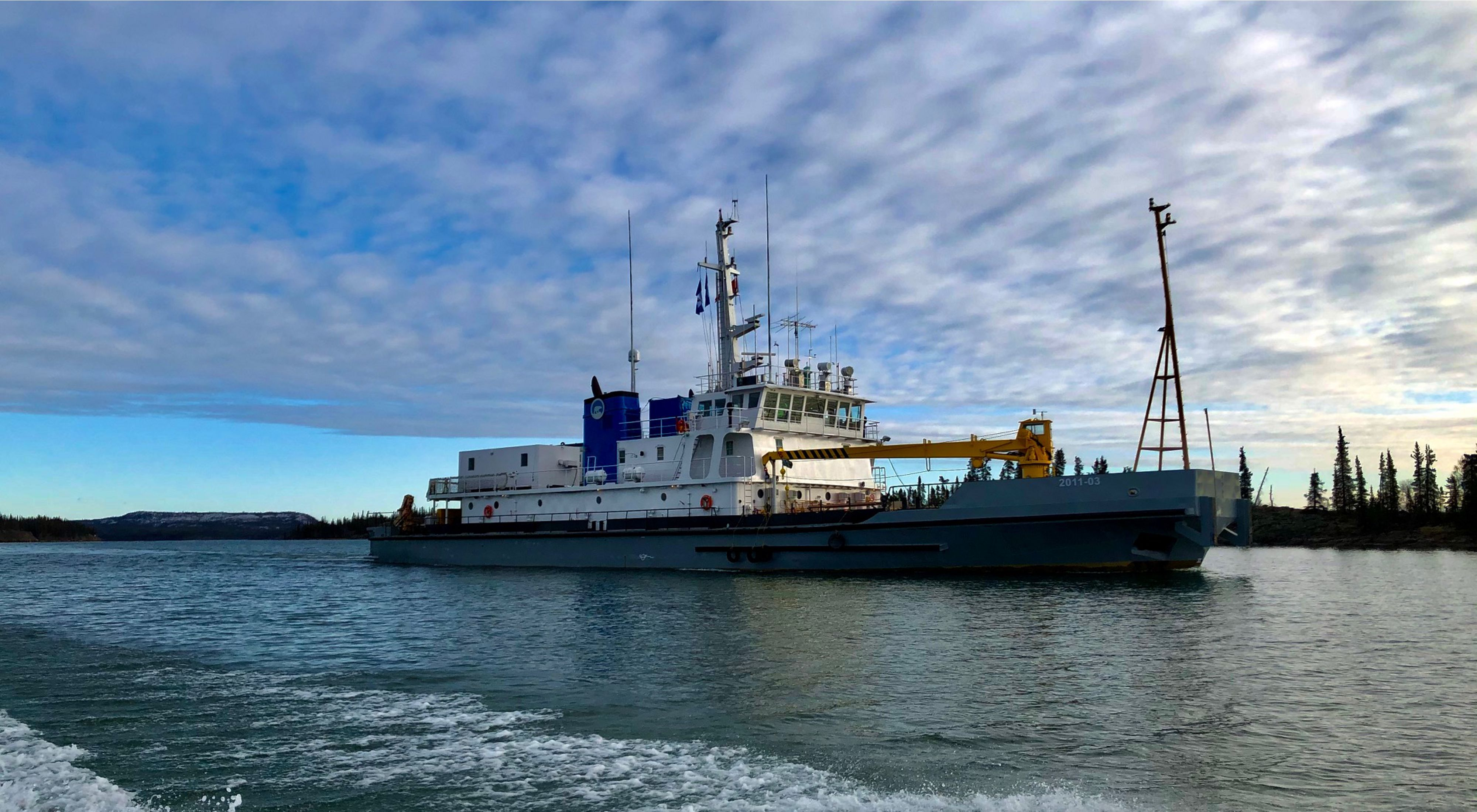 In October 2019, a research vessel set sail on Tu Nedhé (also known as Great Slave Lake) with a crew that included young people from the nearby Łutsël K'é Dene First Nation.