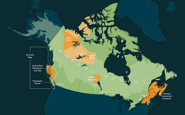 illustrated map showing nature united's work in canada
