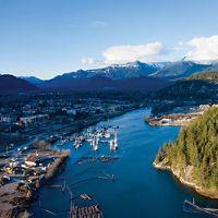 Aerial view of a lumberyard town in Squamish, British Columbia, Canada.