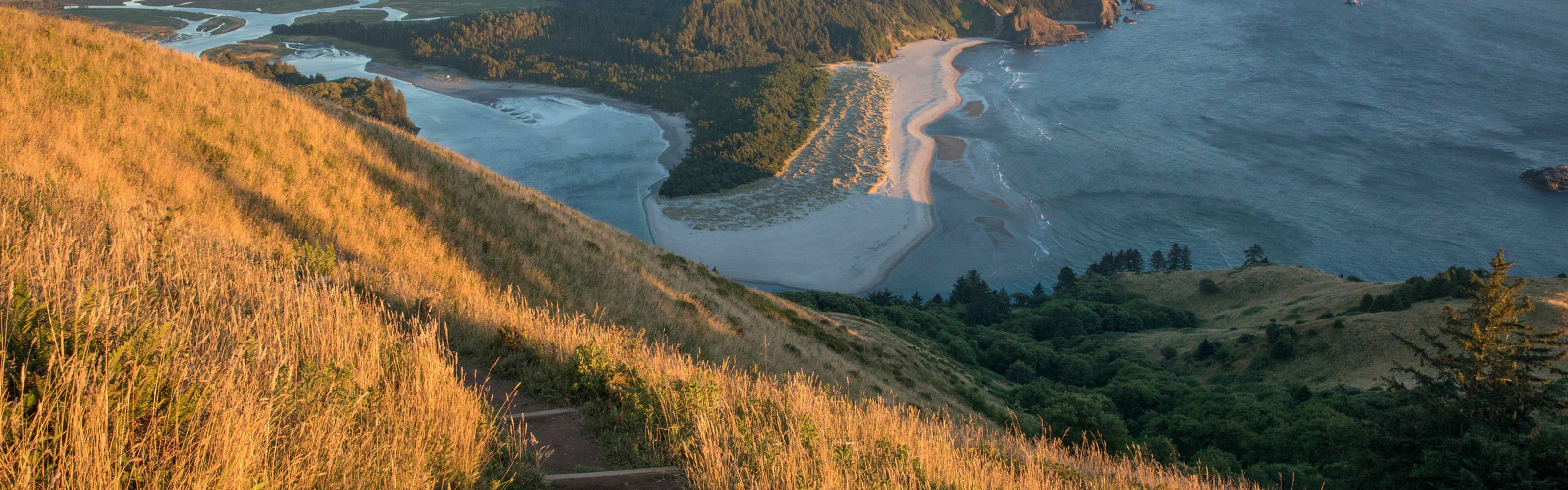 Cascade Head trail overlooking the Pacific Ocean