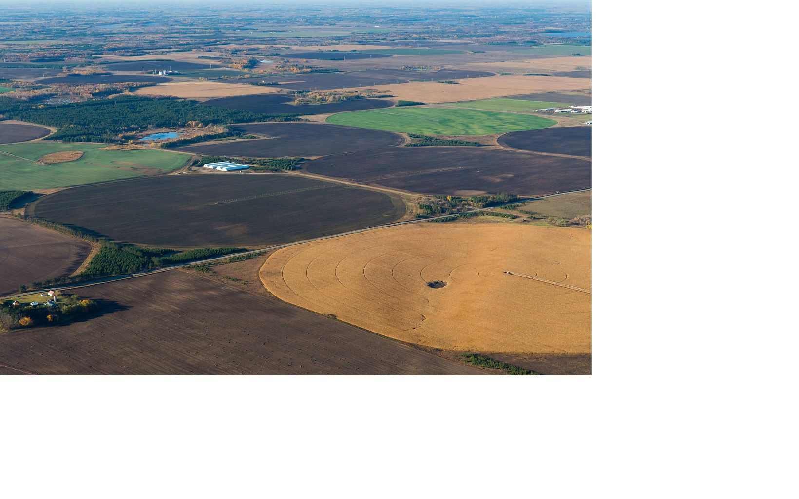 Aerial view of center pivot irrigation in Minnesota.