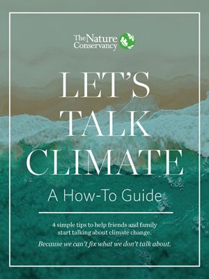 "The cover of e-book, ""Let's Talk Climate,"" showing an iceberg."
