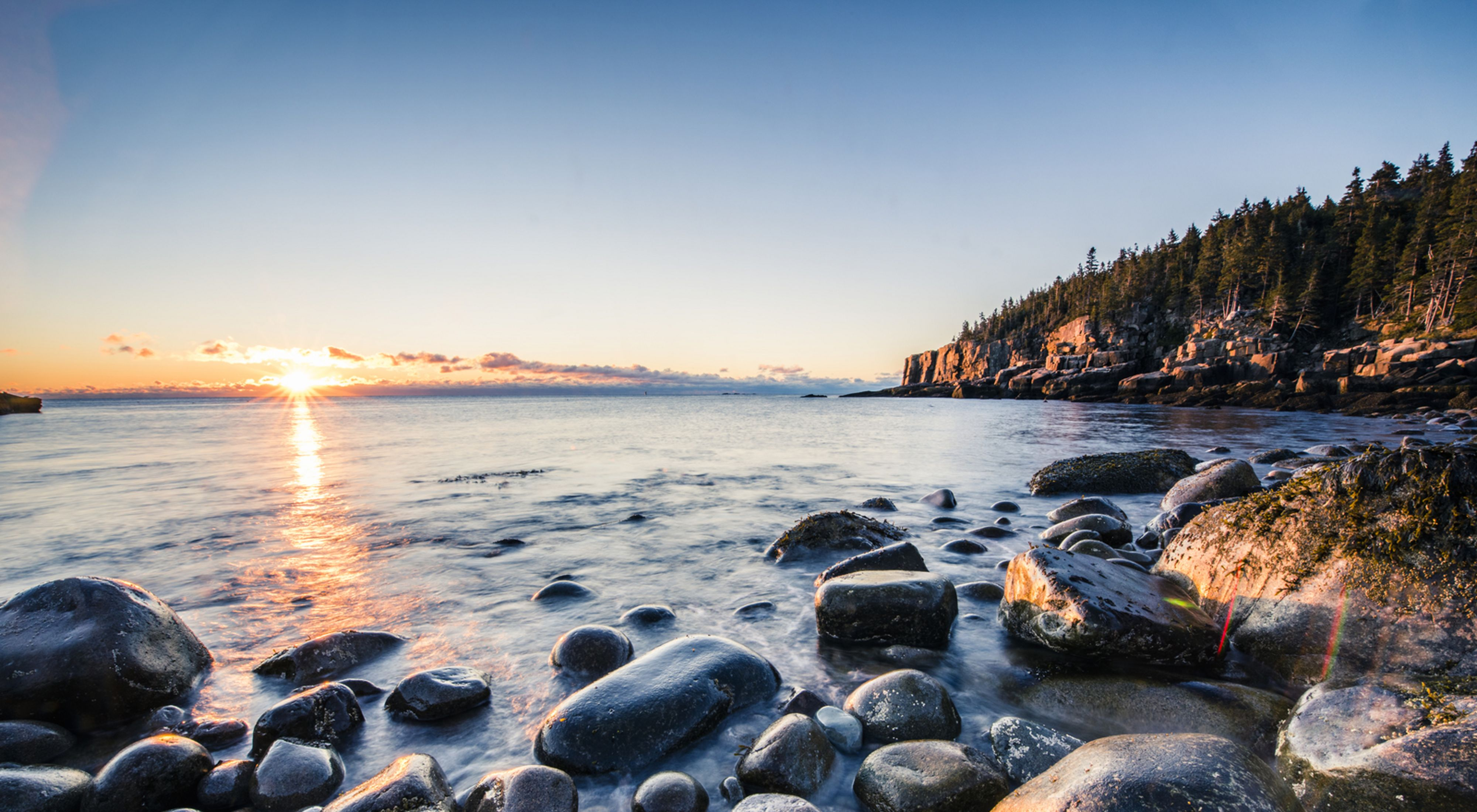Sunrise over the shore of Maine's Acadia National Park