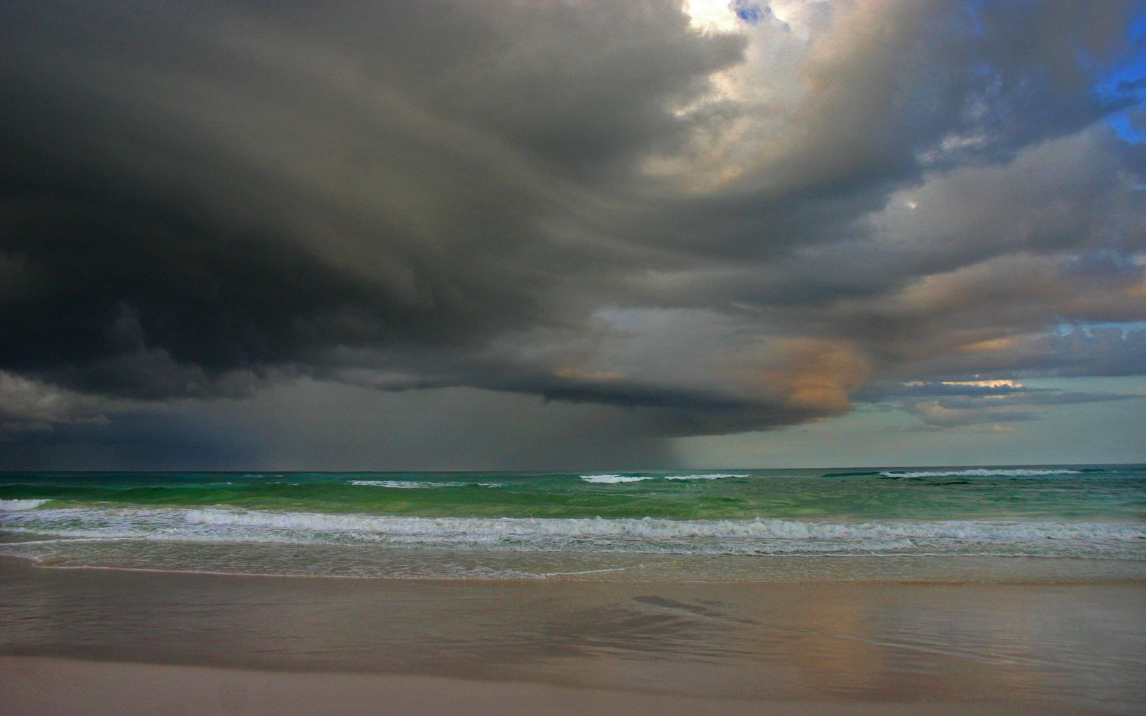 A powerful tropical thunderstorm moves along the coast.
