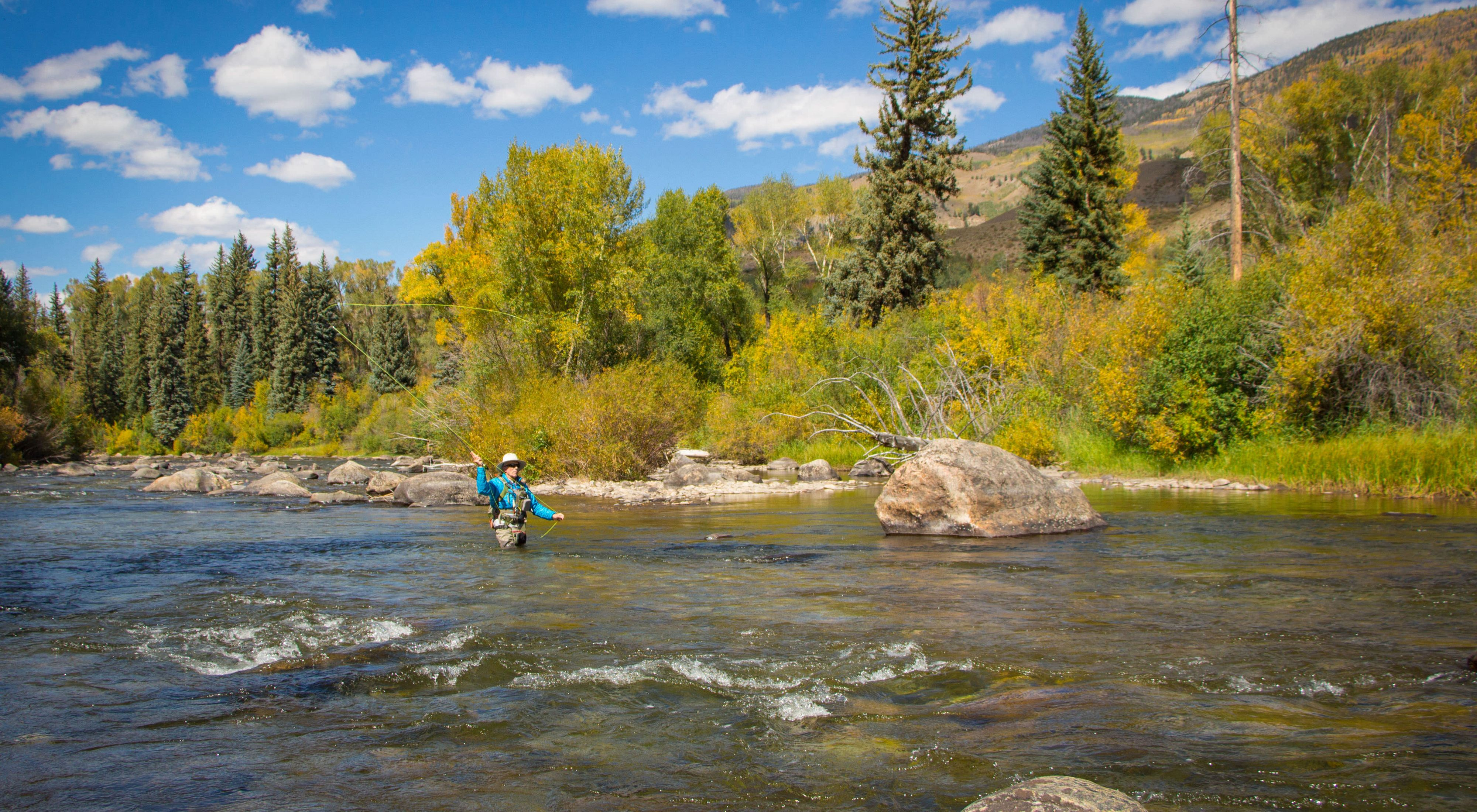 Fishing the Blue River in Summit County, Colorado.