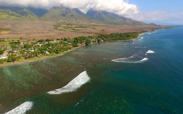 Aerial view of reefs off the coast of Maui.
