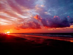 A colorful sunrise at the beach