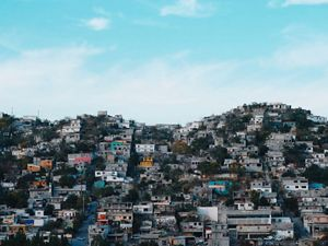 View of a residential area on a hillside in Monterrey.