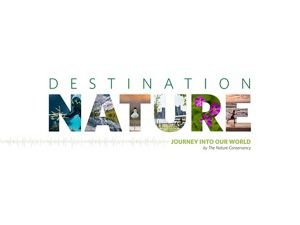 The Destination Nature podcast logo. Each letter is shaped from a photo of nature, such as a coral reef and a mountain lake.
