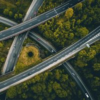 Aerial view of roads cutting through a forest of trees.