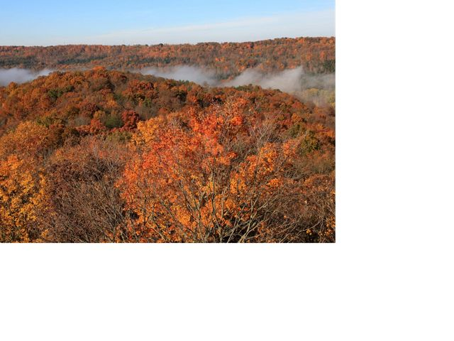 Aerial view of Edge of Appalachia Preserve with low clouds and spectacular orange fall foliage.