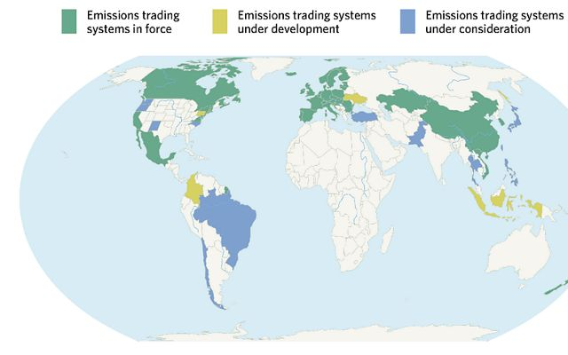 Fonte: Emissions Trading Worldwide, 'The state of play of cap-and-trade em 2021,' Relatório da International Carbon Action Partnership (ICAP) 2021