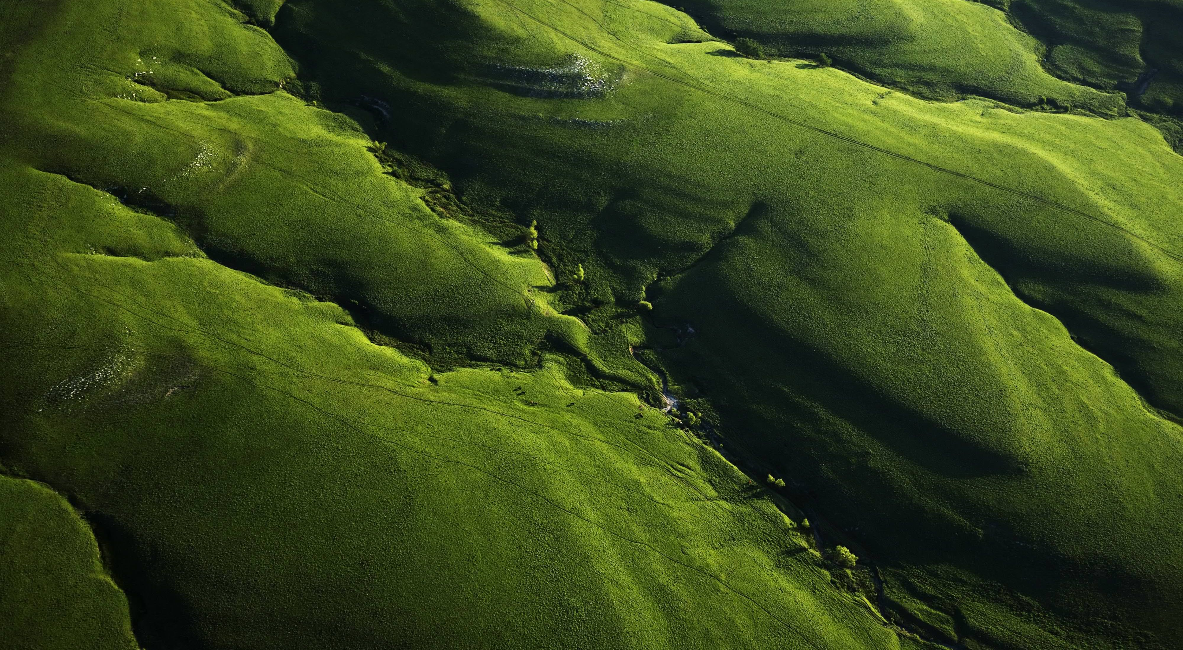 Aerial view of vibrant green hills