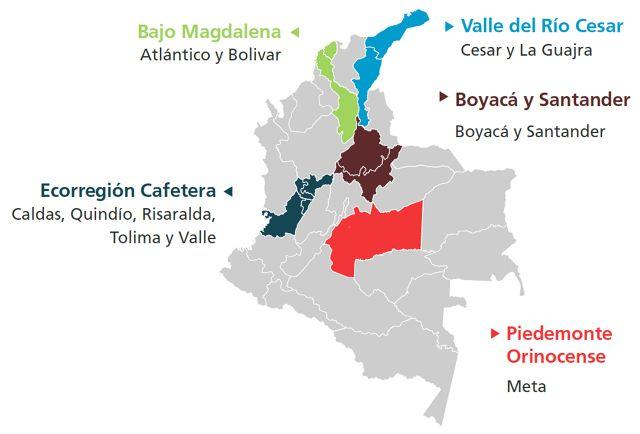 Se implementó en 4100 predios, en 87 municipios de 12 departamentos. Total de hectáreas impactadas: 18.283 hectáreas en conservación; 38.390 hectáreas en uso sostenible.