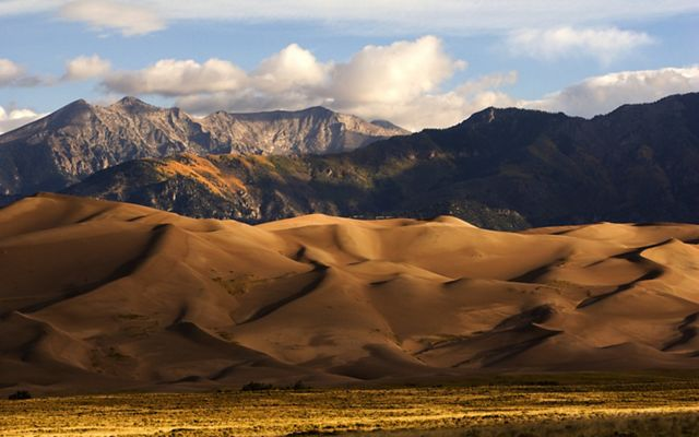 A landscape shot of Great Sand Dunes National Park in Colorado.
