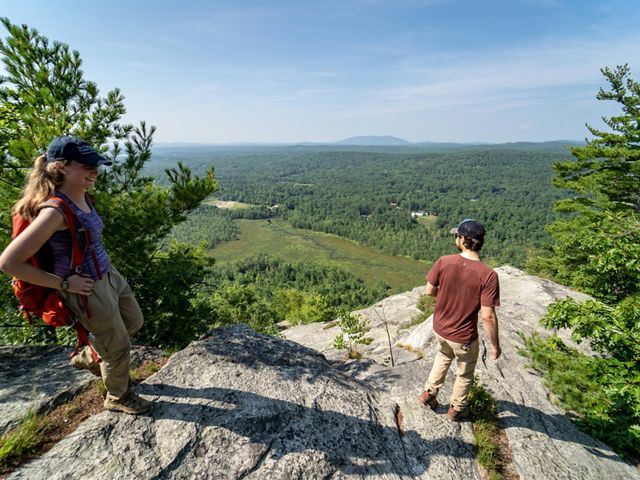 The view from Hawk Mountain of the Sebago Lake watershed.