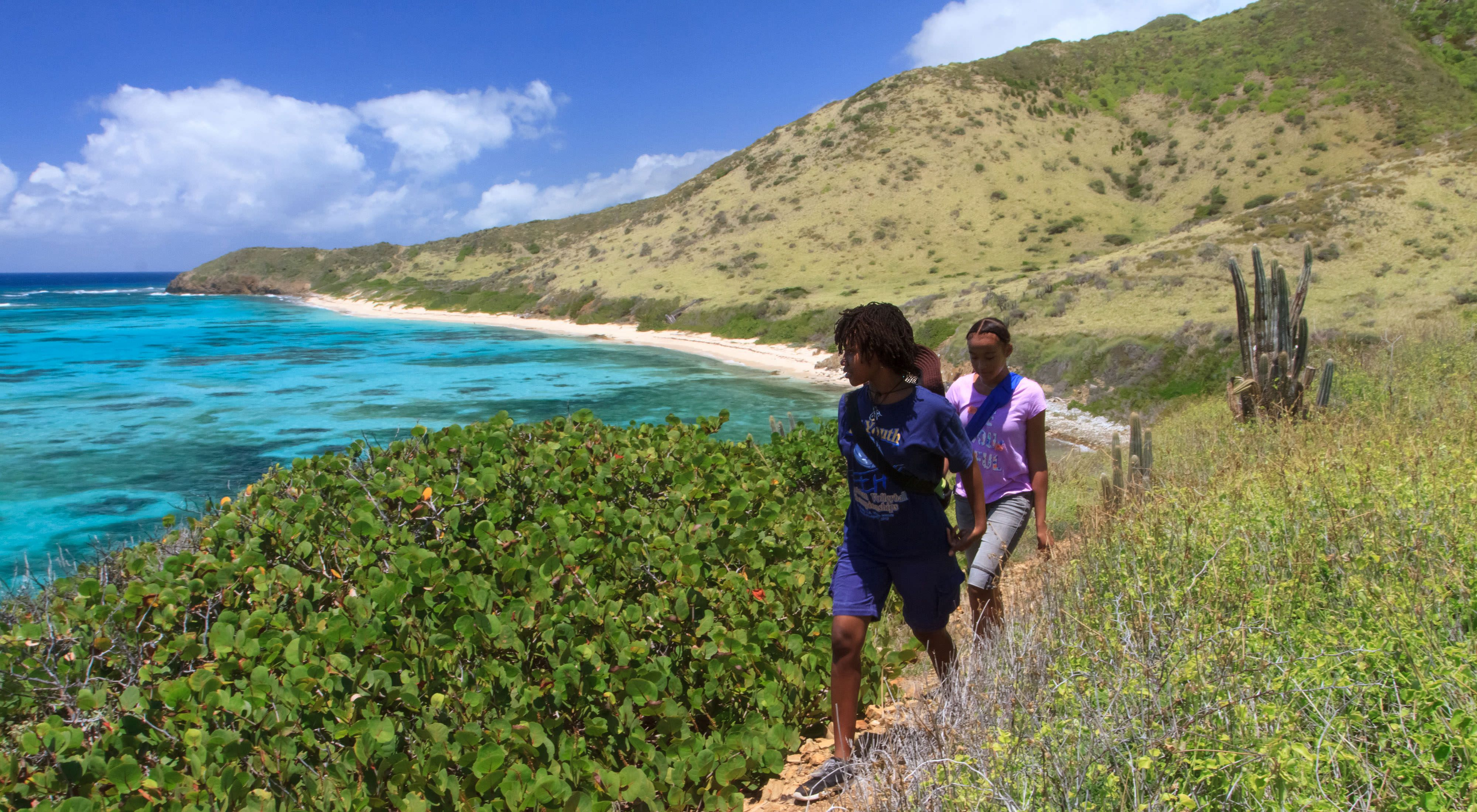 Kids hike at Jack and Isaac Bay Preserve, St. Croix