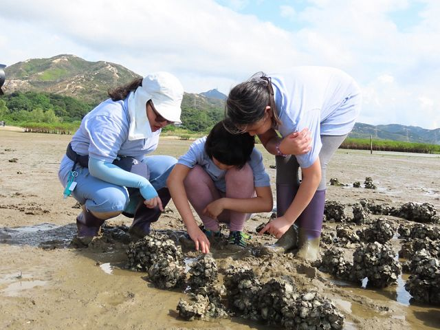 A teacher and two students squat to look at specimens in the mud.