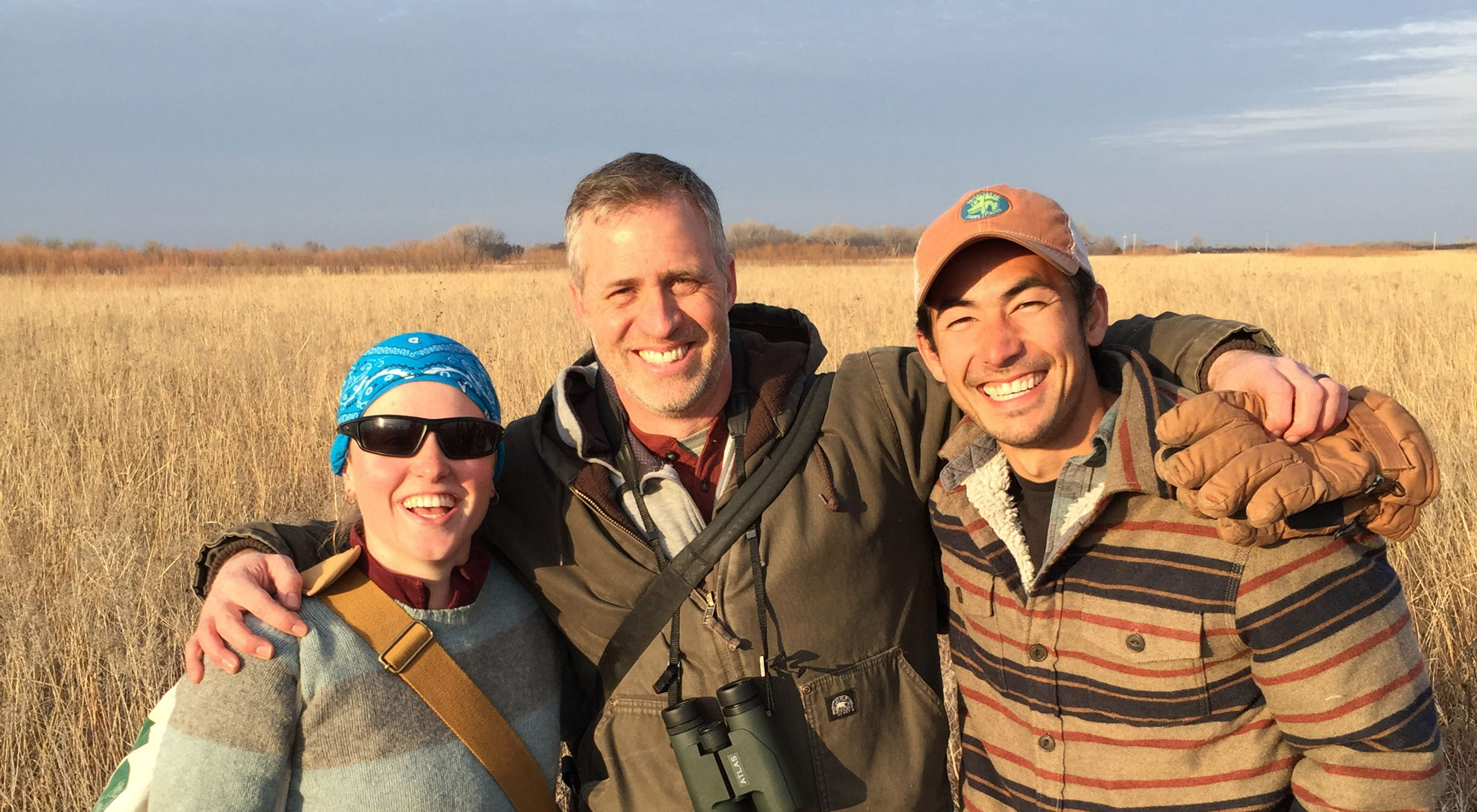 (From left to right) Fellow Katherine Hogan, Director of Science Chris Helzer, and Fellow Eric Chien.