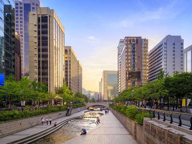 A view of a river running through Seoul in South Korea.