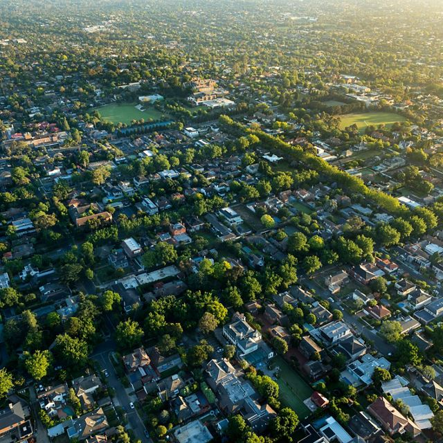 A suburb of Melbourne at sunrise.
