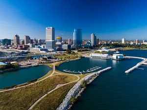 Aerial view of the city skyline of Milwaukee.