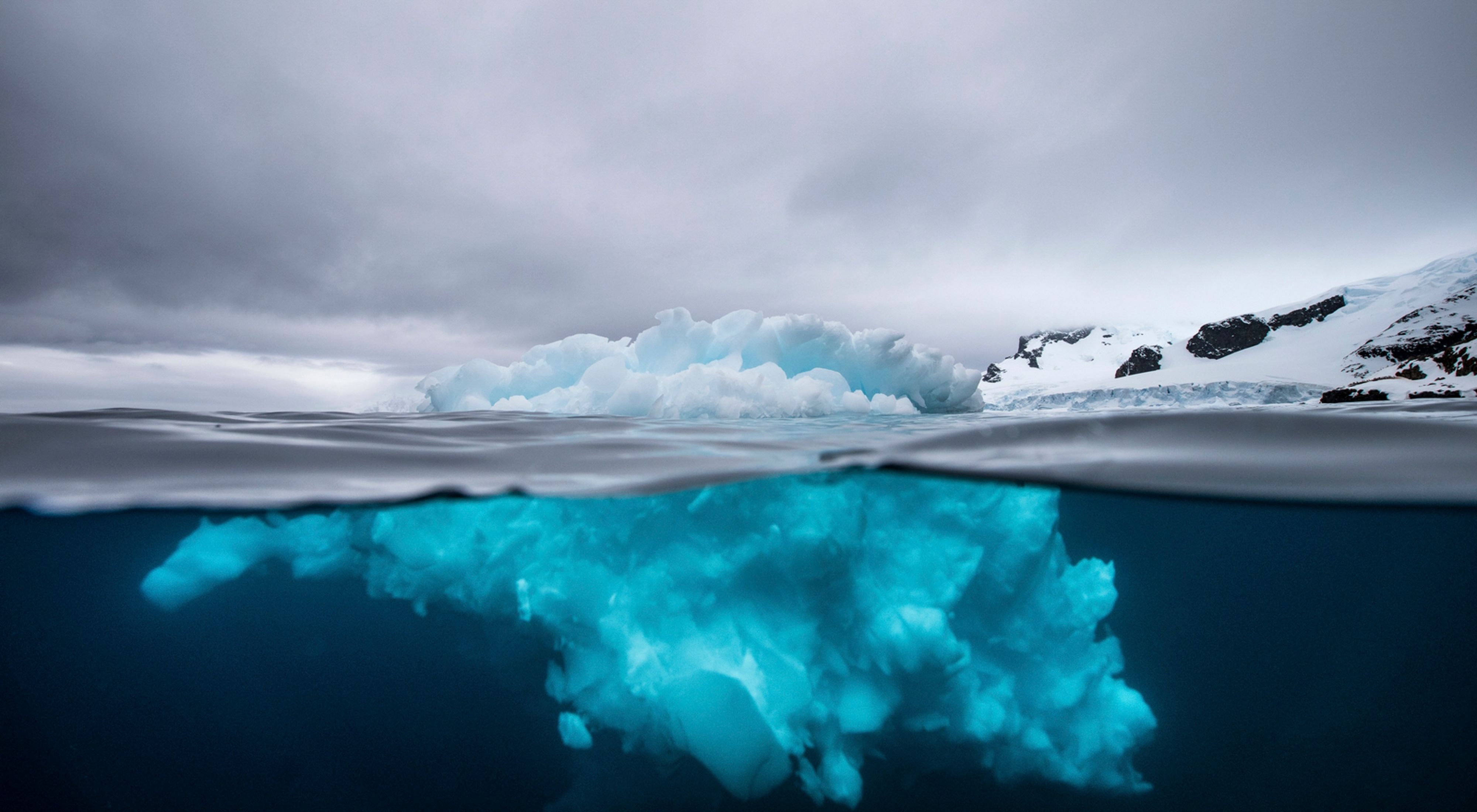 The intricate shape of an iceberg, above and below