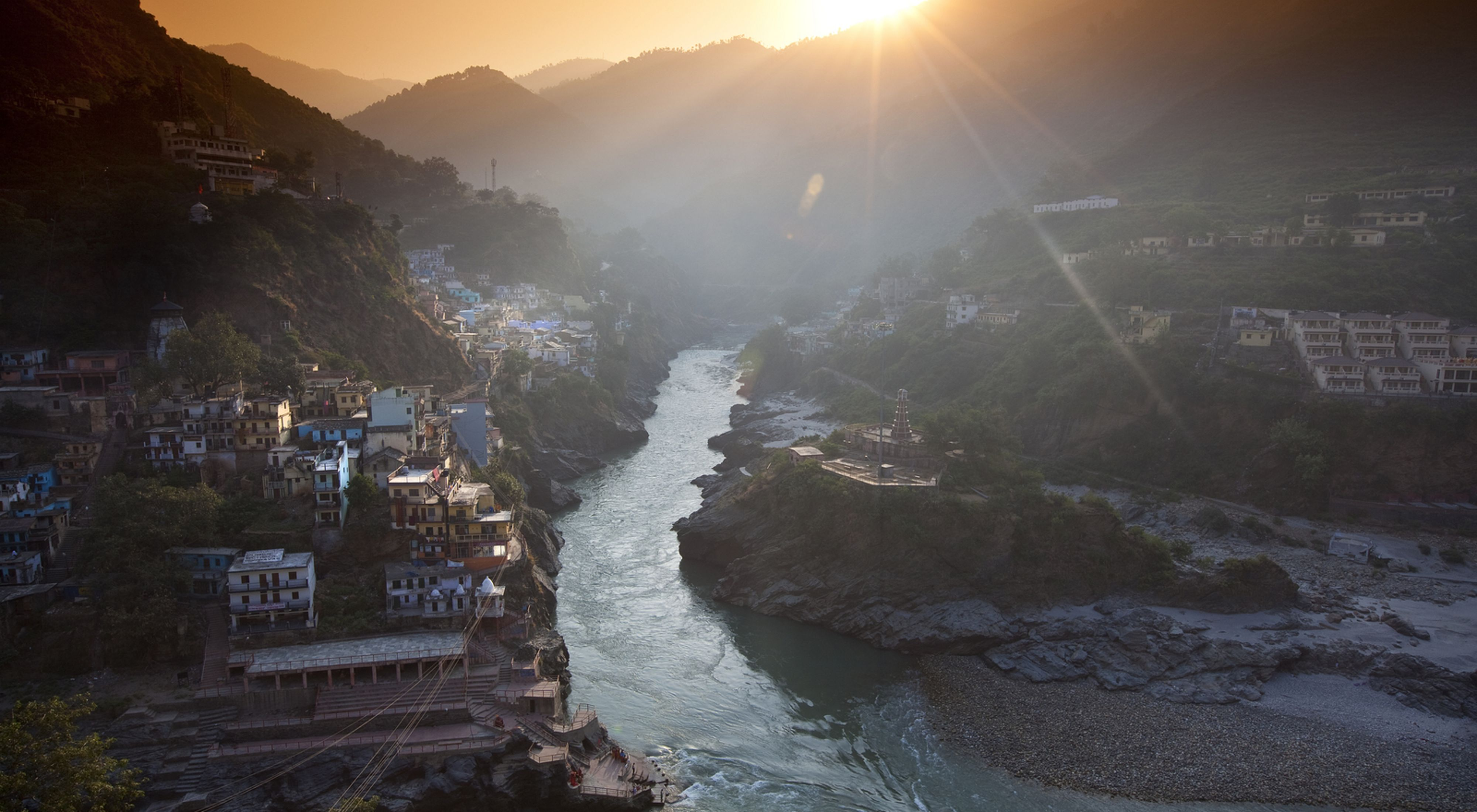 in Devprayag, India, where two other rivers, the Bhagirathi and Alaknanda, converge.
