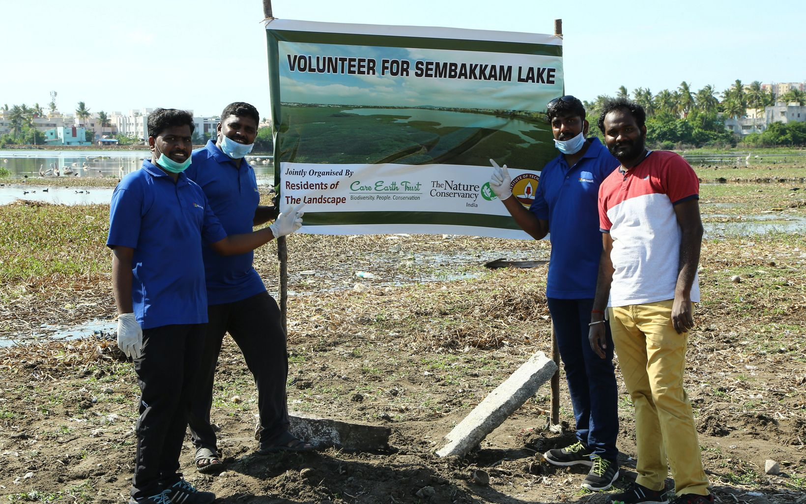 organisations holding the Lake Sembakkam clean up banner