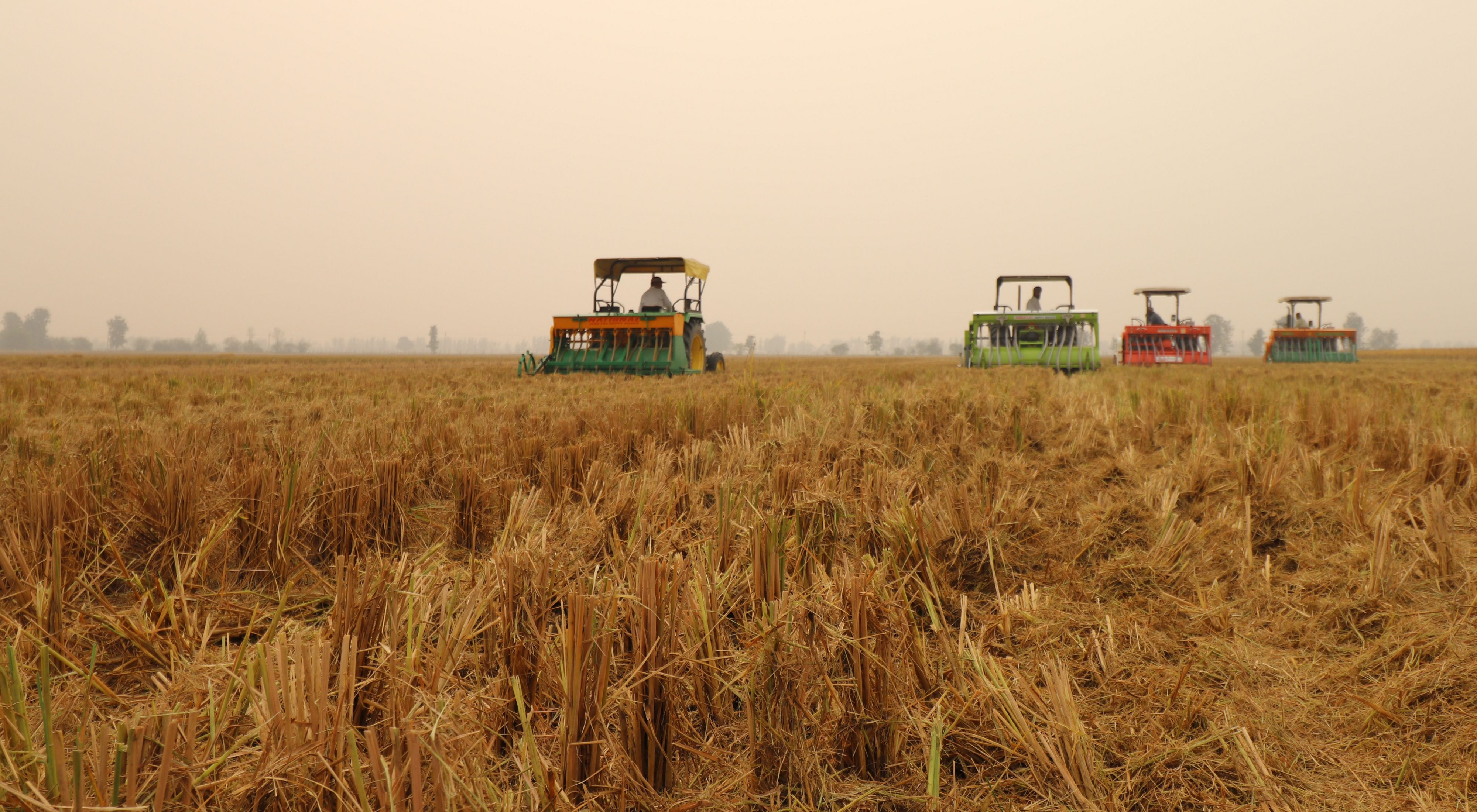 Farmers using the Happy Seeder in Punjab.