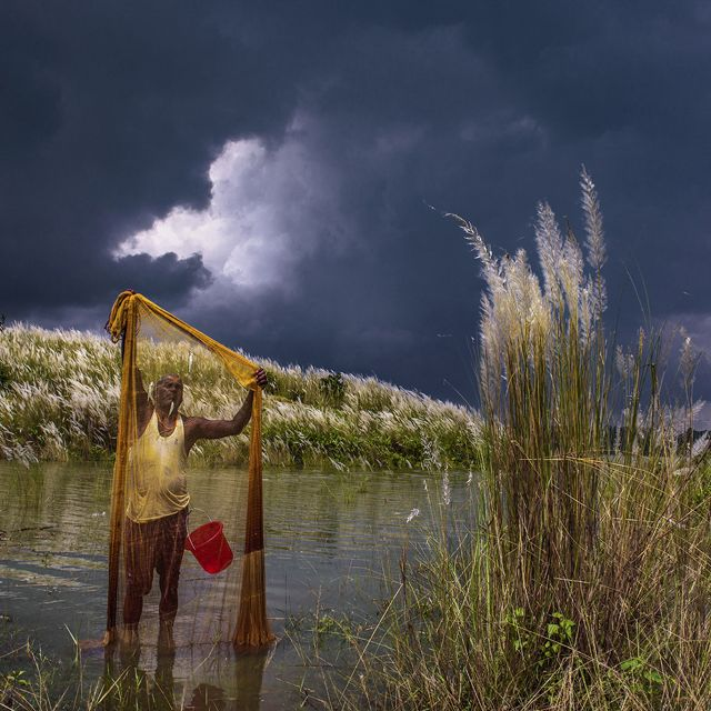 searches his net while storm clouds gather