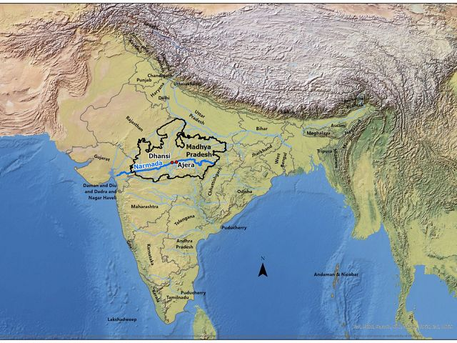 Map of the River Narmada and our two project sites; Dhansi and Ajera