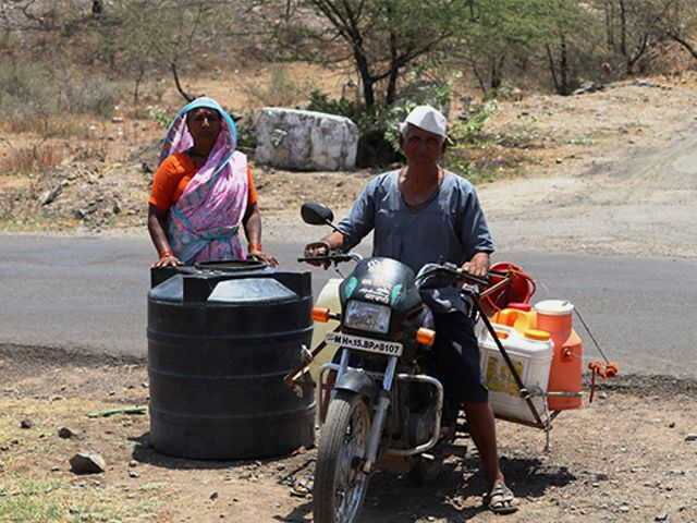 Bhim is among many from his village in Maharashtra who travels several kilometres to fill up a few cans of water every day.
